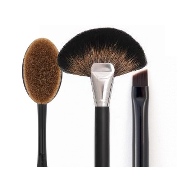 Makeupbørster - Trio Sæt - Fan Brush - Contour Brush - All In One Oval Brush